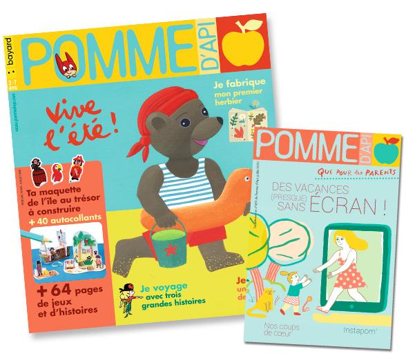 Couverture du magazine Pomme d'Api et son supplément pour les parents, n°653, juillet-août 2020