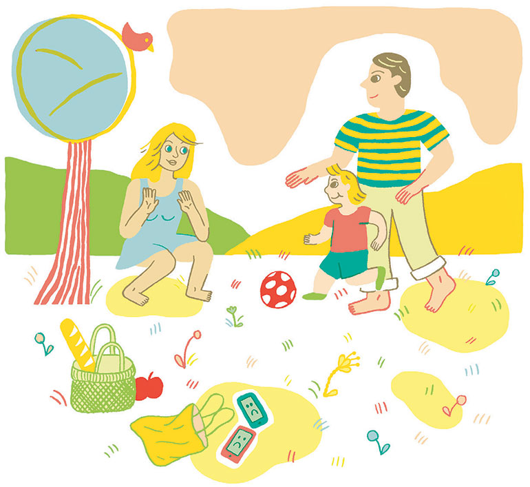 """""""Quelle place pour les écrans cet été ?"""", supplément pour les parents du magazine Pomme d'Api n°653, juillet 2020. Illustrations : Charline Giquel."""