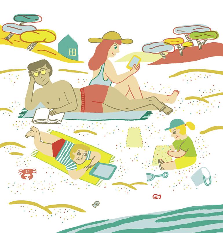 """""""Quelle place pour les écrans cet été ?"""", supplément pour les parents du magazine Pomme d'Api n°653, juillet 2020. Illustration : Charline Giquel."""