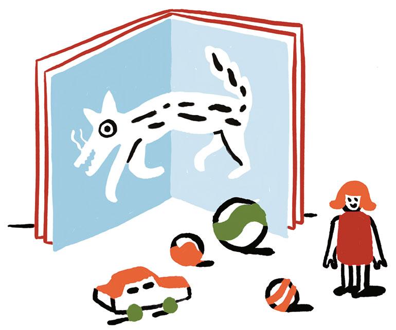 """""""La peur du loup"""", supplément pour les parents du magazine Pomme d'Api n°657, novembre 2020. Texte: Joséphine Lebard. Illustration: Marie Assénat."""