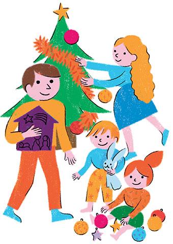"""""""La crèche de Noël : tradition culturelle ou symbole chrétien?"""", supplément pour les parents du  magazine Pomme d'Api n°658, décembre 2020. Texte : Anne Bideault.  Illustrations : Claire Perret."""