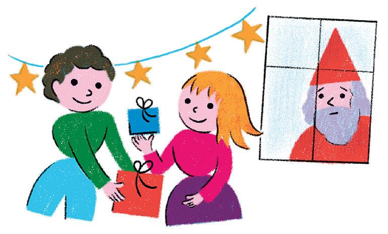 """""""La crèche de Noël: tradition culturelle ou symbole chrétien?"""", supplément pour les parents du  magazine Pomme d'Api n°658, décembre 2020. Texte: Anne Bideault.  Illustrations: Claire Perret."""