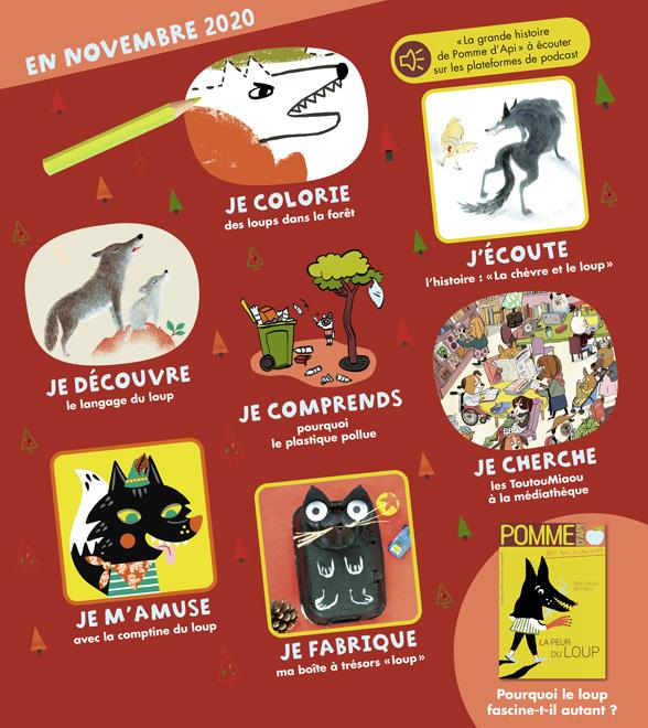 Sommaire du magazine Pomme d'Api, n°657, novembre 2020
