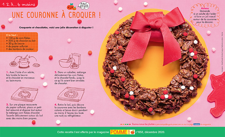 """Une couronne à croquer"""", Pomme d'Api n°658, décembre 2020. Conception : Marie-Pascale Nicolas-Cocagne. Réalisation et photo : Hélo-Ita."""