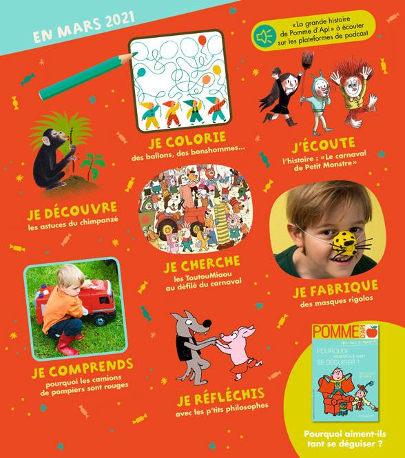Sommaire du magazine Pomme d'Api, n°661, mars 2021