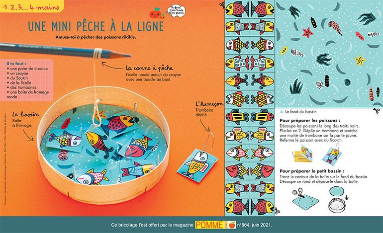 Bricolage: une mini-pêche à la ligne. Illustrations: Élisa Géhin. Photo: Geoffroy de Boismenu.