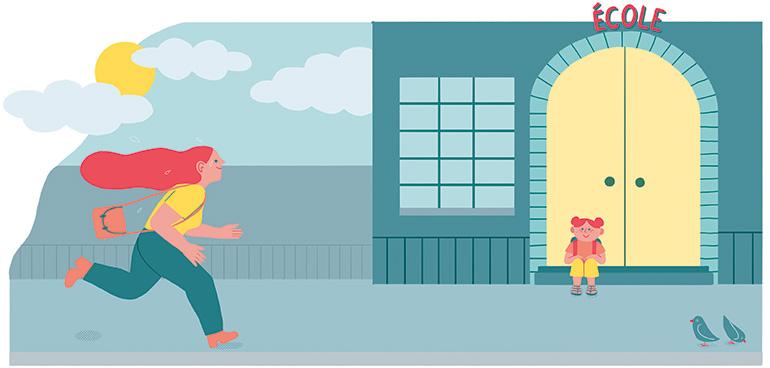 Difficile de faire passer le message qu'on doit partir à 17h30 pour récupérer son enfant… Illustration : Popy Matigot.