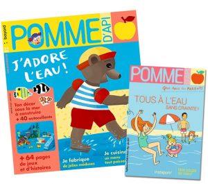 """Couverture du magazine Pomme d'Api, n°665, juillet 2021 et son supplément pour les parents : """"Tous à l'eau sans crainte!"""""""
