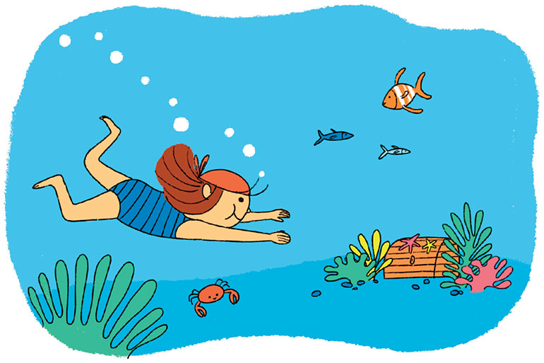 Dans l'eau, se mettre à la hauteur de son enfant et de ses sensations. Illustrations : Aki.