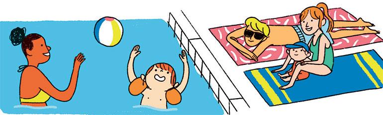 Jouer pour vaincre l'appréhension de l'eau. Illustrations : Aki.