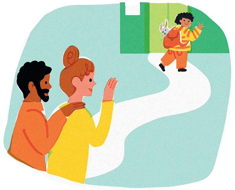 Les premiers jours d'école. Illustrations : Lucia Calfapietra.