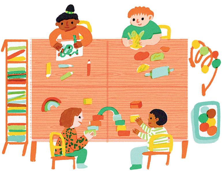 Le rôle de l'école. Illustrations : Lucia Calfapietra.