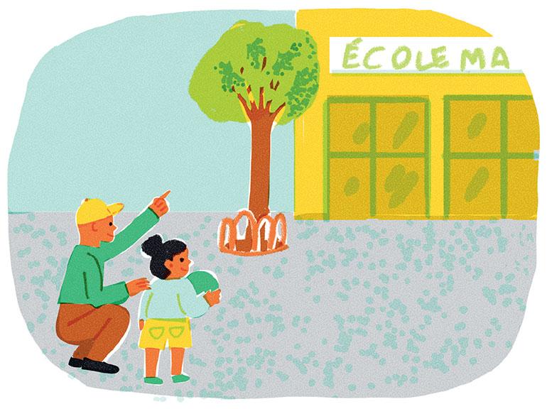 Une rentrée, ça se prépare côté enfants, mais aussi côté parents. Illustrations : Lucia Calfapietra.