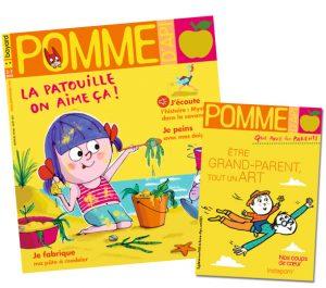 """Couverture du magazine Pomme d'Api, n°666, août 2021, et son supplément pour les parents """"Être grand-parent, tout un art"""""""