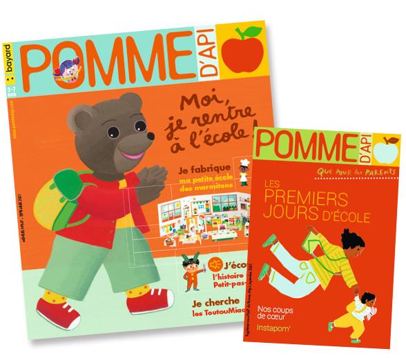 """Couverture du magazine Pomme d'Api, n°667, septembre 2021, et son supplément pour les parents """"Les premiers jours d'école"""""""