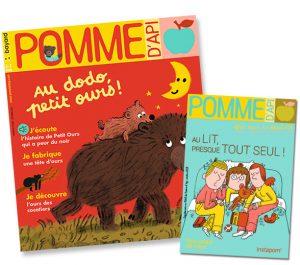 """Couverture du magazine Pomme d'Api, n°668, octobre 2021, et son supplément pour les parents """"Au lit, presque tout seul !"""""""