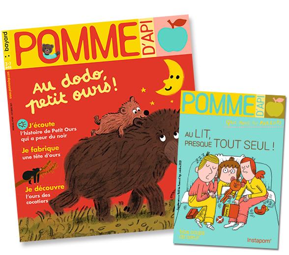 """Couverture du magazine Pomme d'Api, n°668, octobre 2021, et son supplément pour les parents """"Au lit, presque tout seul!"""""""
