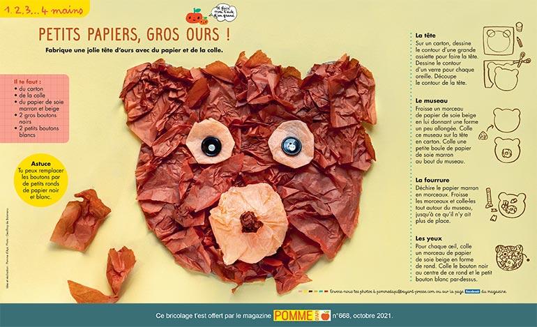 Bricolage : petits papiers, gros ours ! . Photo: Geoffroy de Boismenu.